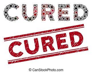 guéri, gratté, timbre, cachet, rouges, texte, mosaïque, coronavirus