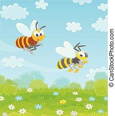 guêpe, sur, voler, champ, abeille