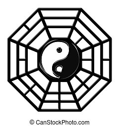 gua, b.a., chinesisches , symbol, yin, achteck, yang
