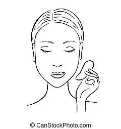 gua, donna, massage., sha, facciale, scraper.