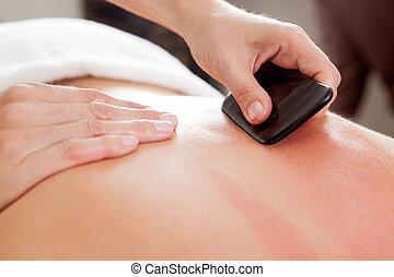 gua-sha, agopuntura, trattamento, su, indietro