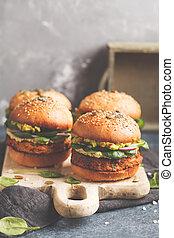 guacamole, 곡물, burger, 개념, 단 것, 야채, 감자, 건강한, 건포도 롤빵, 철저한 채식주의자, 암흑, 배경., 검정, 음식, board., 채식주의자, 마요네즈, 굽, 전체, 석판