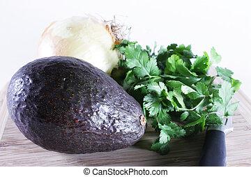Guacamole anyone? - Ingredients, avocado, onion, cilantro...