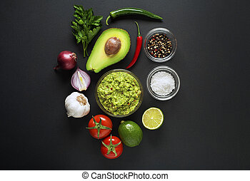 Guacamole - Avocado guacamole with fresh ingredients on...