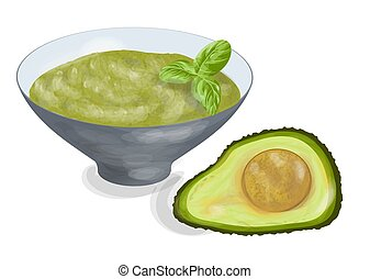 guacamole bowl with ingredient on white background