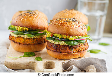 guacamole, burger, 개념, 단 것, 야채, 감자, 건포도 롤빵, 철저한 채식주의자, 배경., 곡물, 음식, 빛, board., 채식주의자, 마요네즈, 굽, 전체, 건강한, 멍청한