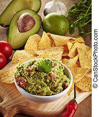 Guacamole dip - Ingredients for avocado guacamole dip and...