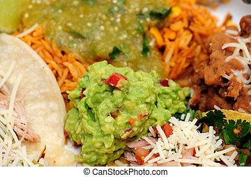 Carnitas, doux, tacos. Guacamole., style, épicé, mexicain, tacos, espagnol, porc, complété ...
