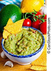 Guacamole - Fresh guacamole dip with avocado, ingredients...