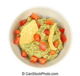 guacamole, frites, op, vrijstaand, achtergrond, witte , tortilla, onderdompeling