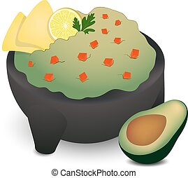 Guacamole in Traditional Mexican Molcajete with two tortillas, lime, cilantro and a half of avocado on the right side.