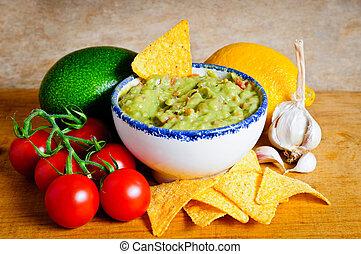 Guacamole ingredients - Avocado guacamole dip and...
