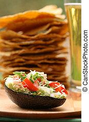 Guacamole Night - guacamole in avocado shell with tostadas...