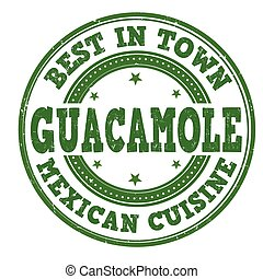 Guacamole stamp - Guacamole grunge rubber stamp on white...