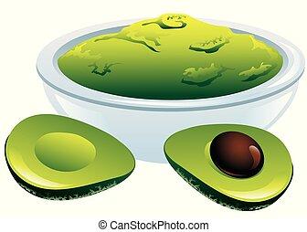 Vector illustration of guacamole dip and avocados