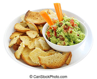 Guacamole with Bagel Crisps - Guacamole served with bagel ...
