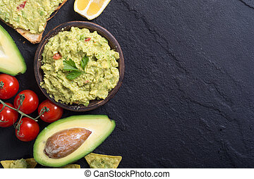 Guacamole with ingredients