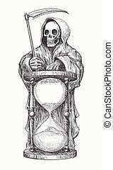 guadaña, muerte, reloj de arena