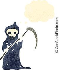 guadaña, muerte, retro, caricatura