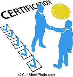 guadagnare, ottenere, ufficiale, certificazione, documento,...