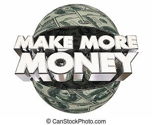 guadagnare, palla, gratifica, soldi, fare, illustrazione, sfera, reddito, più, 3d