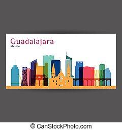 Guadalajara city, Mexico architecture silhouette. Colorful skyline. City flat design. Vector business card.