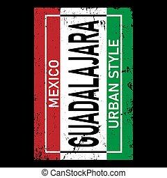 Guadalajara City Typography vector design. Greetings for T-shirt, poster, card and more.