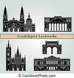 Guadalajara landmarks and monuments isolated on blue background in editable vector file
