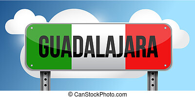 Guadalajara Mexico road street sign