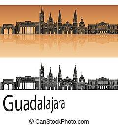 Guadalajara skyline in orange background in editable vector file