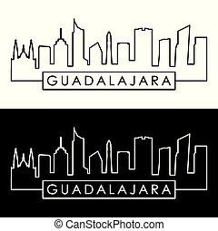 Guadalajara skyline. Linear style. Editable vector file.