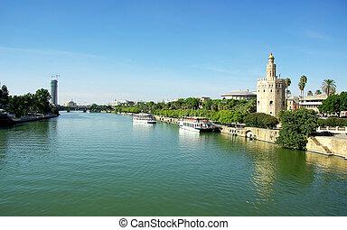 Guadalquivir River and the Torre del Oro, Seville, Spain