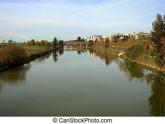 guadalquivir river - Landscape of the river guadalquivir, in...
