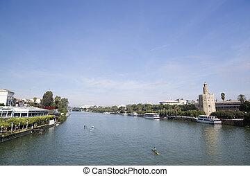 Guadalquivir river, seville - the Guadalquivir river in ...