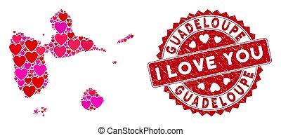 guadalupa, grunge, francobollo, mappa, collage, bello, cuore