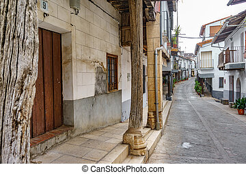 Guadalupe vintage streets in Extremadura,Spain - Wide angle...