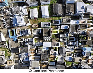 Guadeloupe drone aerial view - cemetery