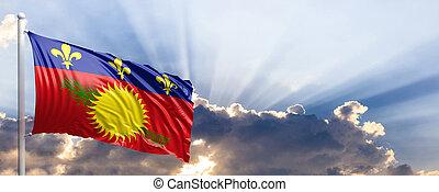 Guadeloupe flag on blue sky. 3d illustration