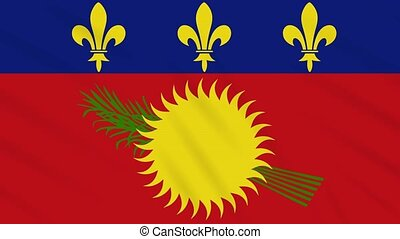 Guadeloupe flag waving cloth, ideal for background, loop