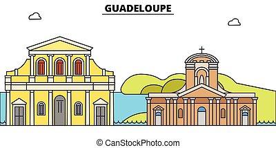 Guadeloupe flat travel skyline set. Guadeloupe black city...