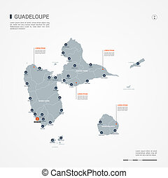 Guadeloupe infographic map vector illustration.