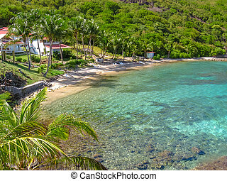 The spectacular beach of Pain de Sucre, Terre-de-Haut, archipelago of Les Saintes at 15 kilometers from Guadeloupe, French Antilles, Caribbean.