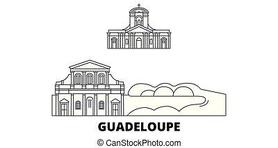 Guadeloupe line travel skyline set. Guadeloupe outline city...