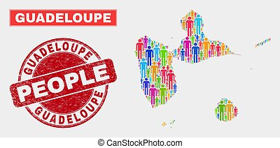 Guadeloupe Map Population People and Corroded Stamp - ...