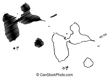 Guadeloupe map vector illustration, scribble sketch Guadeloupe Islands