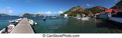 Guadeloupe - Les Saintes islands. Terre de Haut harbor panorama wide view.