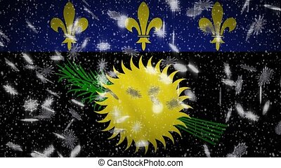 Guadeloupe variant flag falling snow loopable, New Year and Christmas background, loop.