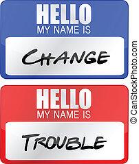 guaio, nome, cambiamento, etichette
