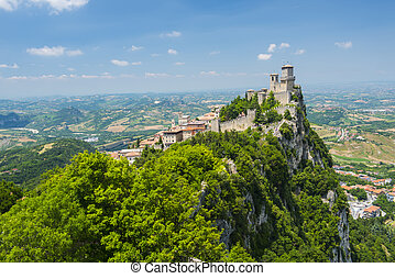 Mighty Guaita Tower and fortress on Mount Titano above the Republic of San Marino