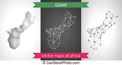 Guam set of grey and silver mosaic 3d polygonal maps. Graphic vector triangle geometry outline shadow perspective maps